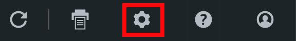 Zoom sur la barre d'outils. L'icône des paramètres est entourée en rouge.