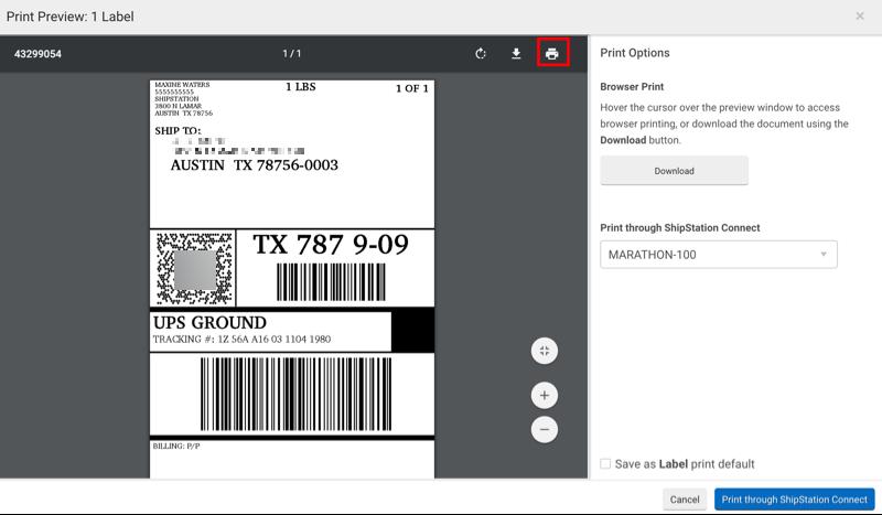 Pop-up d'impression d'une étiquette, l'icône imprimante est encadrée en rouge.