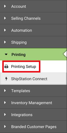 Barre latérale gauche des paramètres. Sous le menu déroulant Impression, l'option Configuration de l'impression est encadrée en rouge.