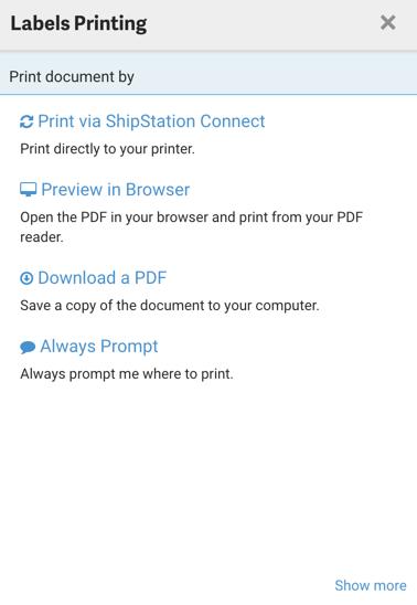 Pop-up d'impression, différentes options s'affichent: Imprimer avec ShipStation Connect, Prévisualisation dans le navigateur, Télécharger un PDF et Toujours demander.