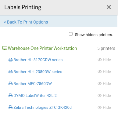 Pop-up d'impression des étiquettes. Liste des imprimantes disponibles.