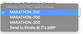 Pop-up de sélection de l'imprimante, l'imprimante sélectionnée par l'utilisateur est surlignée en bleu