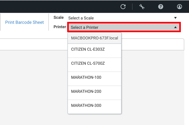 Scanner pour validation, le menu déroulant Sélectionner une imprimante est encadré en rouge