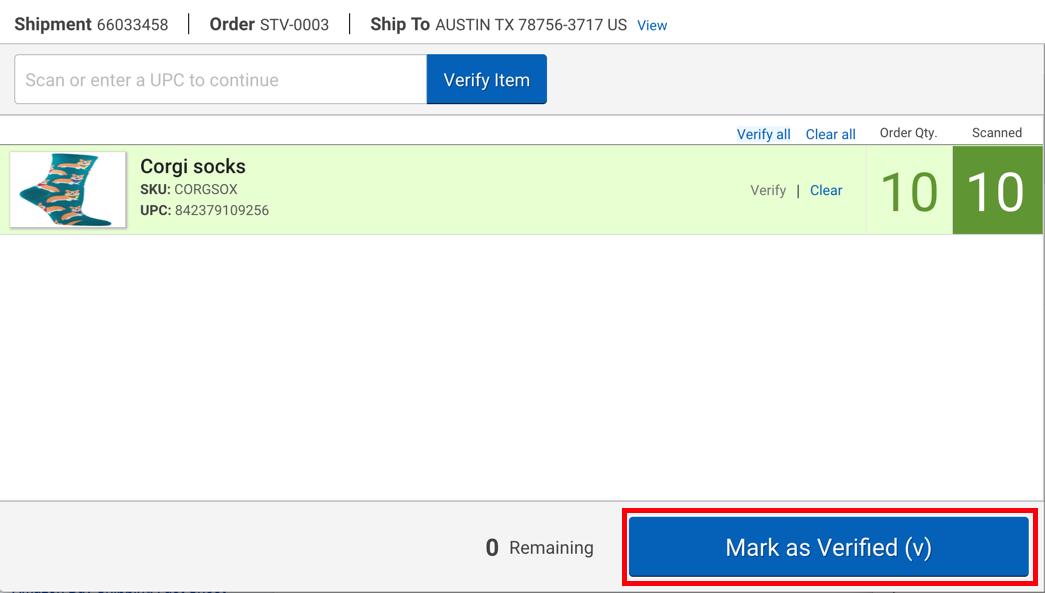 Scanner pour validation: le bouton Marquer comme validé est encadré en rouge
