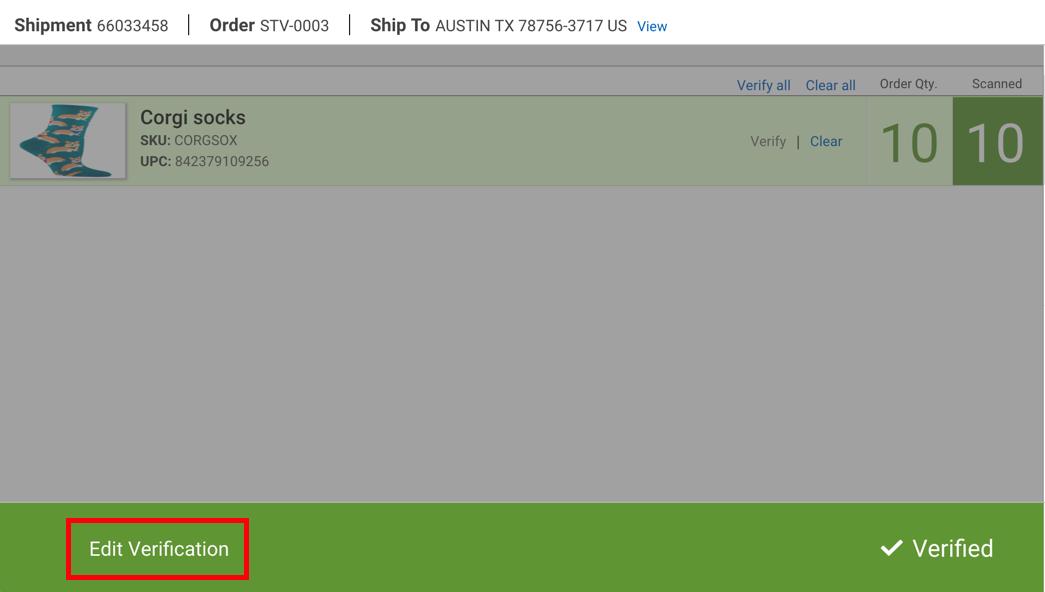 Scanner pour validation: statut validé. Le bouton Modifier la validation est encadré en rouge.