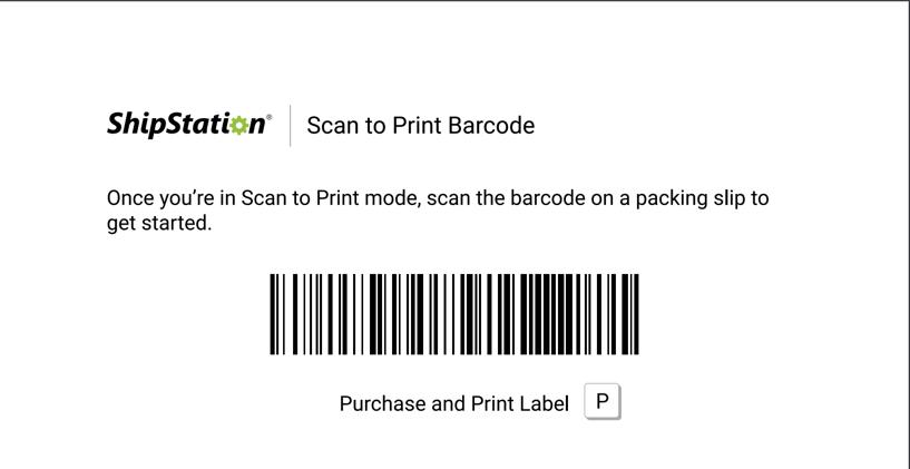 Code-barres Scanner pour impression. Lecture: «Lorsque vous êtes en mode Scanner pour impression, scannez le code-barres qui figure sur le bordereau d'expédition pour commencer.»