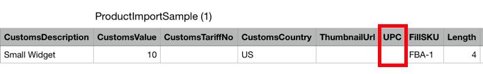 En-têtes et champs du CSV pour importer des produits. Le champ UPC est encadré en rouge.