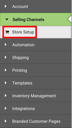 Barre latérale de gauche. Sous Canaux de vente, la section Configuration de la boutique est entourée en rouge.