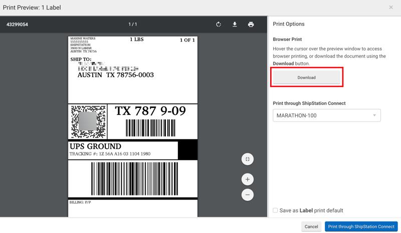 Fenêtre Imprimer, exemple d'étiquette. L'option Télécharger a été sélectionnée et est encadrée en rouge.