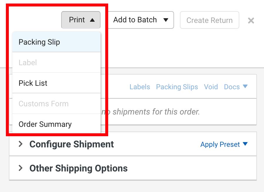 Le bouton Imprimer des détails d'une commande est encadré en rouge. Les options du menu déroulant sont: bordereau d'expédition, étiquette, liste de prélèvement, formulaires de douane ou récapitulatif de commande.