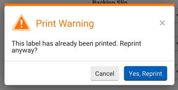 Fenêtre pop-up Avertissement de réimpression. Message: Cette étiquette a déjà été imprimée. Voulez-vous quand même la réimprimer? Options: Annuler ou Oui, réimprimer