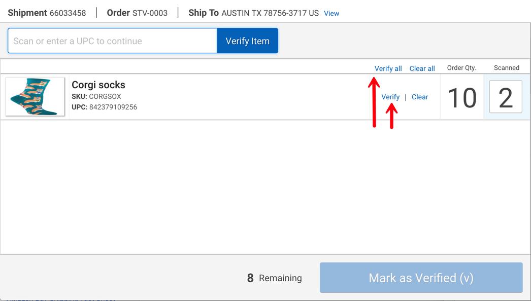 Scanner pour validation. 2flèches rouges: la première pointe vers le bouton Tout valider et la seconde vers le bouton Valider (un seul article).