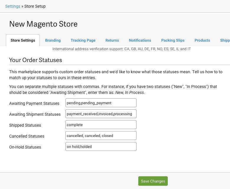 Page de configuration de la boutique, définir les statuts personnalisés: En attente de paiement, En attente d'expédition, Expédié, En attente, Annulé