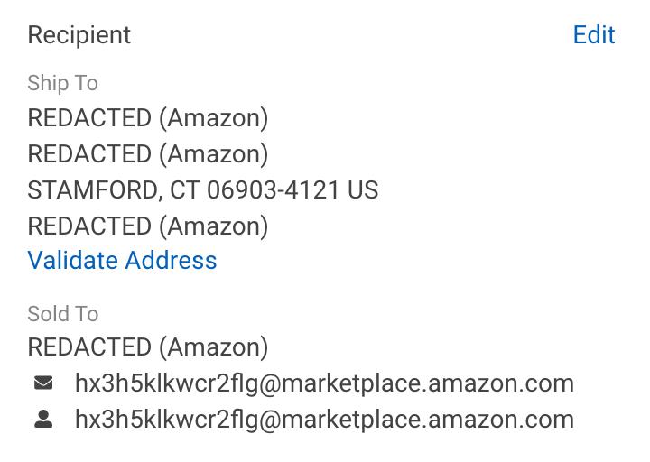 Section Destinataire des détails d'une commande, informations clients effacées par Amazon