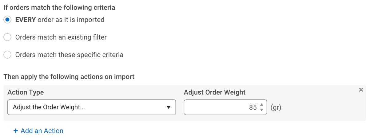 Règles d'automatisation. Exemple d'ajout d'un poids en système métrique